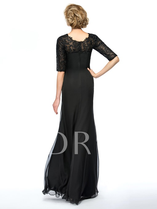 Lace Jewel Neck Half Sleeves Black Mother of the Bride Dress