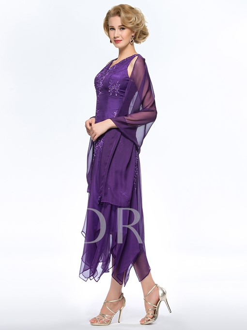Embroidery Beaded Asymmetrical Mother Dress With Shawl