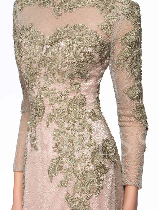 Jewel Neck Long Sleeves Applique Mother of the Bride Dress