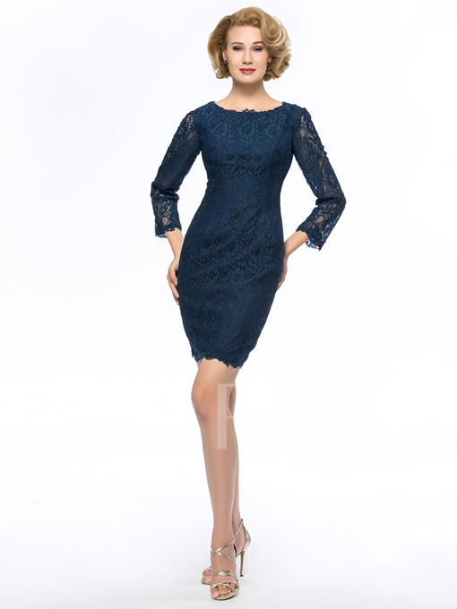 Scoop Neck Lace 3/4 Sleeves Short Mother of the Bride Dress