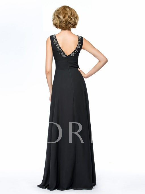 V-Neck Beaded Sheath Mother of the Bride Dress With Jacket