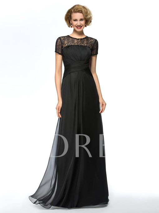 Beaded Jewel Neck Lace Mother of the Bride Dress