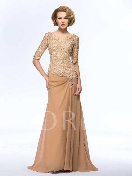V-Neck Lace Beadings A-Line Sweep Train Long Mother Dress