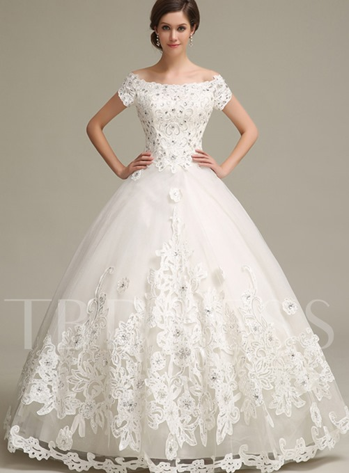 Ball Gown Off the Shoulder Applique Floor-Length Wedding Dress