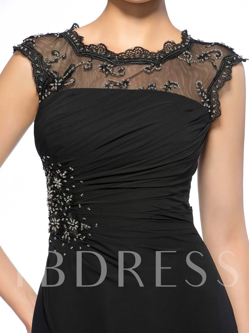 Sheer Neck Beaded Mother Of The Bride Dress