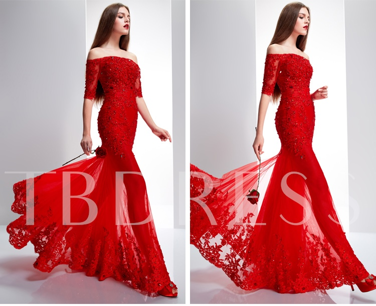 Lace Appliques Beadings Evening Dress With Jacket/Shawl