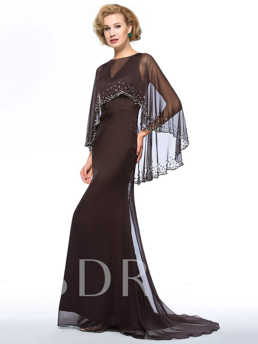 V-Neck Floor-Length Sweep Train Mother Dress With Jacket/Shawl