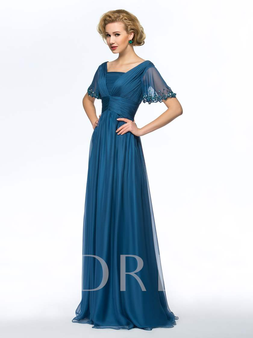 Square Neck Pleats Short Sleeves Mother of the Bride Dress