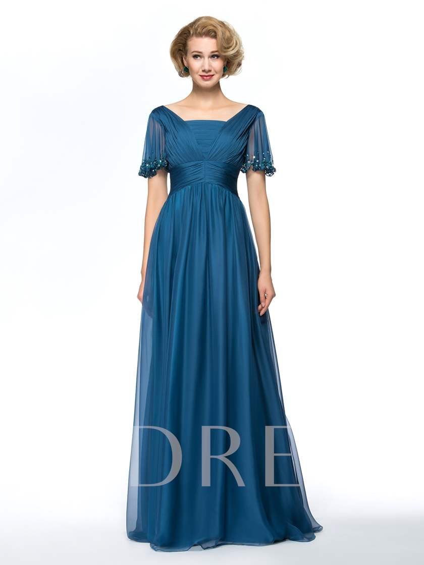 A-Line Empire Square Pleats Short Sleeves Mother Dress