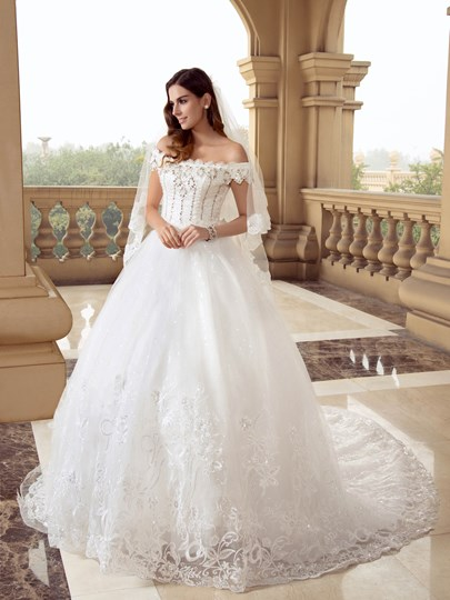 Beading Appliques Court Train Luxurious Wedding Dress