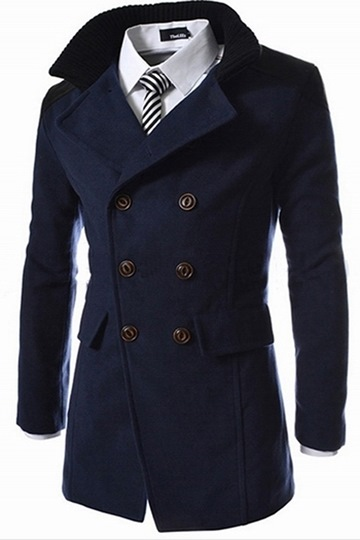 Lapel Patchwork Double-Breasted Woolen Men's Trench Coat