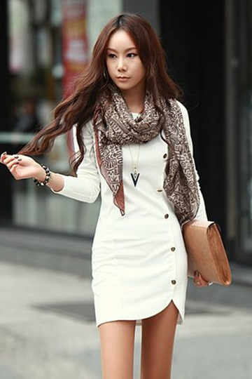 Long Sleeve Solid Color Women's Dress