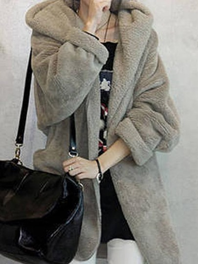 Solid Color Long Sleeve Hooded Thicken Women's Overcoat