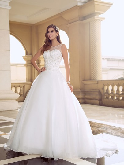 Jewel Neck Beaded Pearls Court Train Ball Gown Wedding Dress
