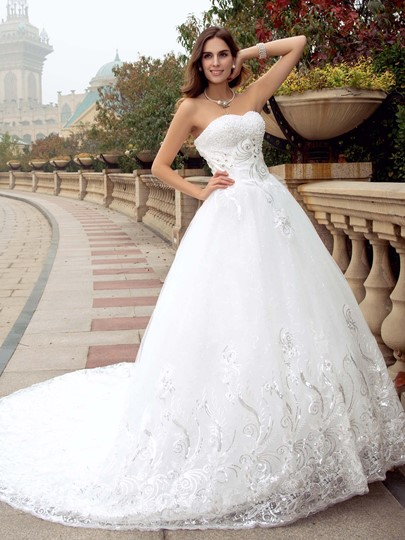 Strapless Beaded Sequins Appliques Wedding Dress