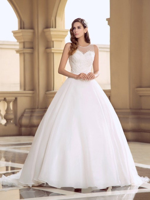 Scoop Neck Beading Ball Gown Wedding Dress