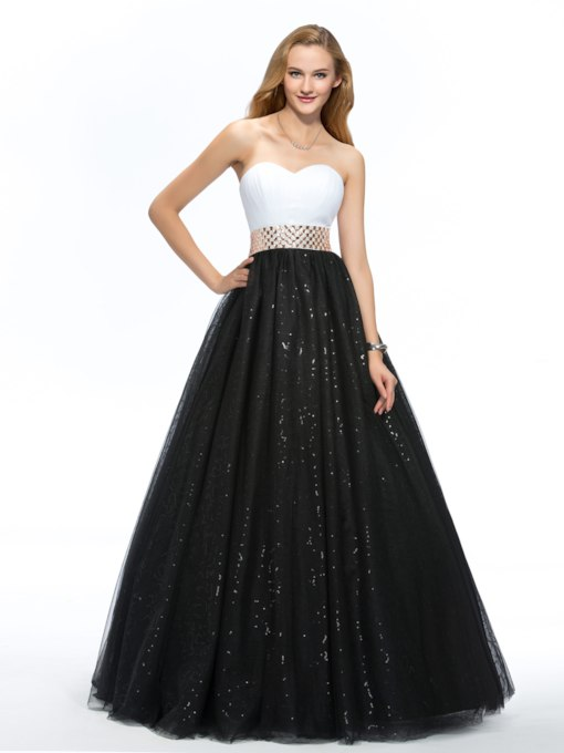 Sweetheart A-Line Beaded Sash Floor-Length Quinceanera Dress
