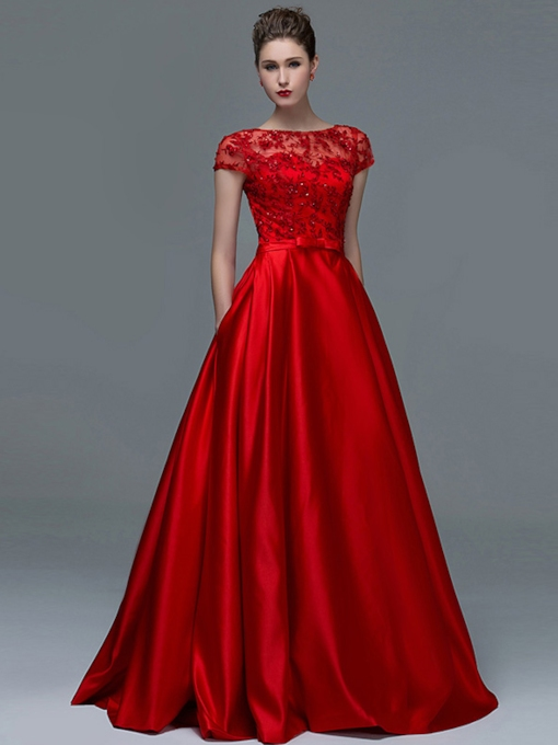 Cap Sleeves Appliques Sequins Pockets Evening Dress 2019