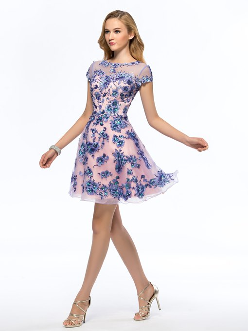 Bateau Appliques Beading Short Homecoming Dress