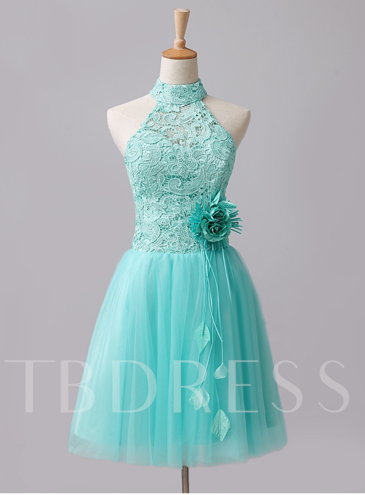 Image of A-Line Halter Lace Flowers Short Homecoming Dress