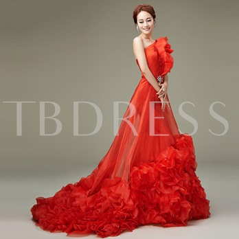 One Shoulder Beading Flowers Court Train Wedding Dress