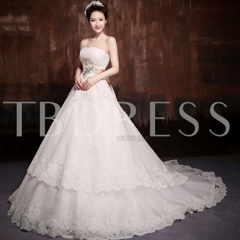Strapless Ball Gown Chapel Train Sash Tiered Lace Wedding Dress