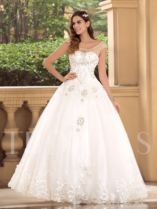 Cap Sleeves Beading Ball Gown Wedding Dress