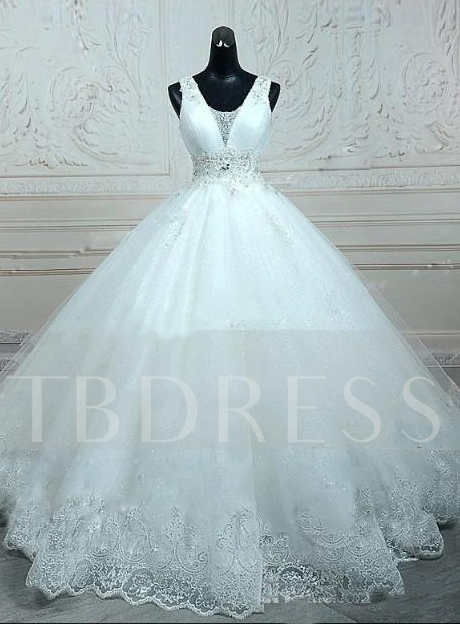 Floor-Length Beaded Ball Gown White Lace Tulle Wedding Dress