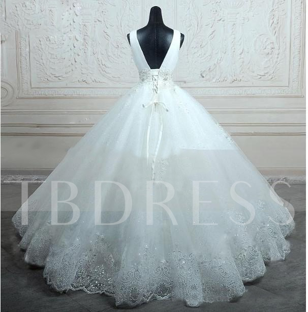 Beaded Ball Gown Lace Tulle Wedding Dress