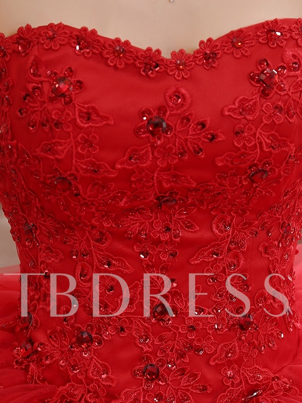 Strapless Appliques Beading Ball Gown Red Wedding Dress