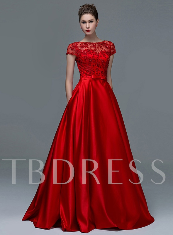 A-Line Appliques Cap Sleeves Scoop Sequins Evening Dress 2019