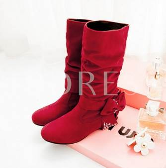 Round Toe Slip-On Plain Bowtie Mid-Calf Women's Boots