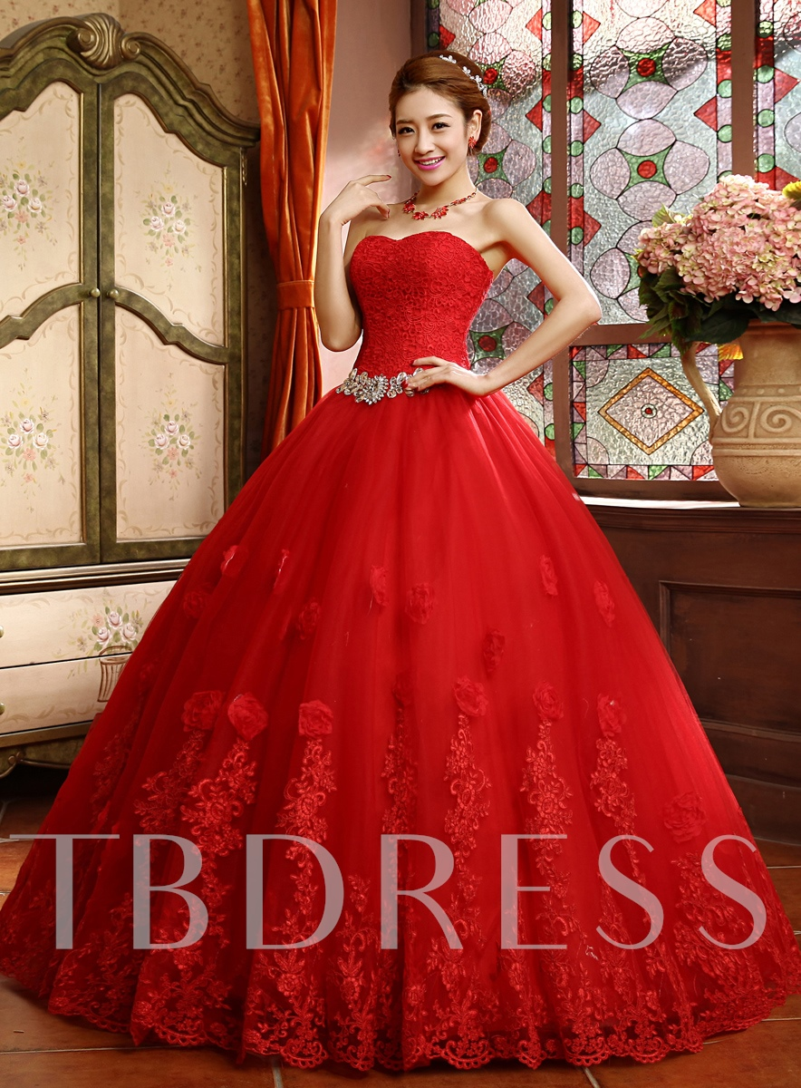 Image of Ball Gown Lace Top Appliques Red Wedding Dress