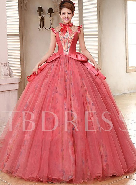 Image of A-line High Neck Beadings Floor-length Quinceanera Dress