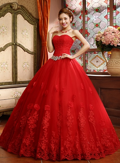 Ball Gown Lace Top Appliques Red Wedding Dress Ball Gown Lace Top Appliques Red Wedding Dress
