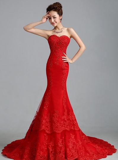 Appliques Beading Mermaid Red Wedding Dress