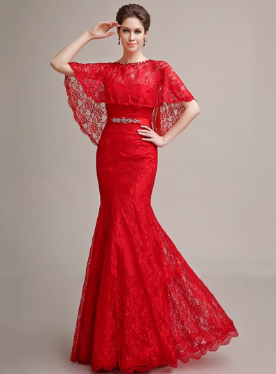 Lace Belt Mermaid Evening Dress With Jacket/Shawl