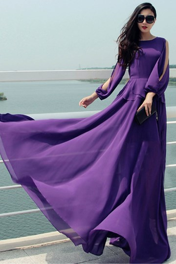 Purple Off-Shoulders Round Collar Long Maxi Dress