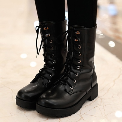 Black Square Heel Lace-Up Women's Martin Boots