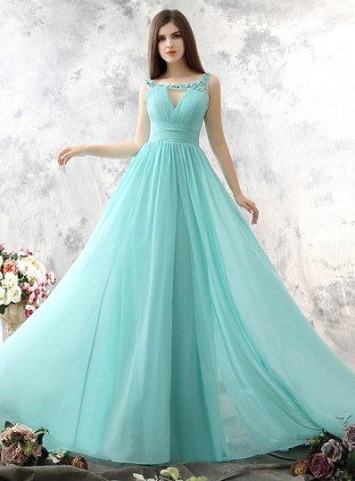 Deep V- Neck Backless Floor-Length Evening/Prom Dress