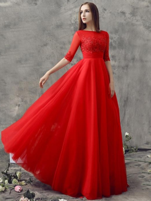 Bateau Neck Half Sleeves Appliques Red Evening Dress