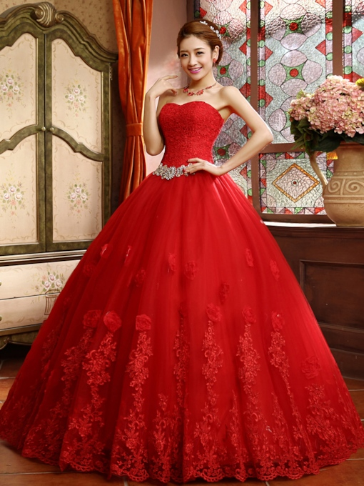 Ball Gown Lace Top Appliques Red Wedding Dress
