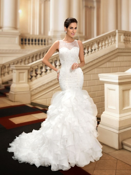 Scoop Neck Beading Trumpet Ruffles Wedding Dress