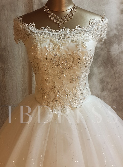 Ball Gown Off-The-Shoulder Lace Church Sequins Wedding Dress