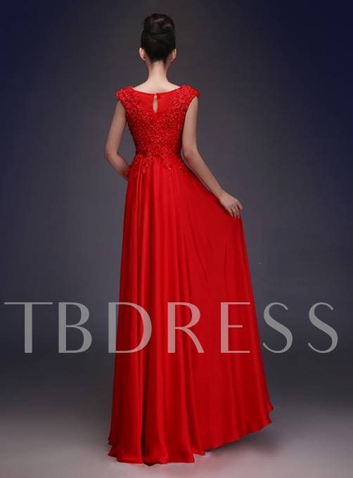 Scoop Neckline Lace Beading A-Line Long Evening Dress