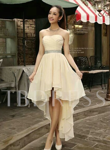 A-Line Asymmetry Strapless Pleats Lace-Up Bridesmaid Dress