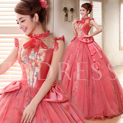 A-line High Neck Beadings Floor-length Quinceanera Dress