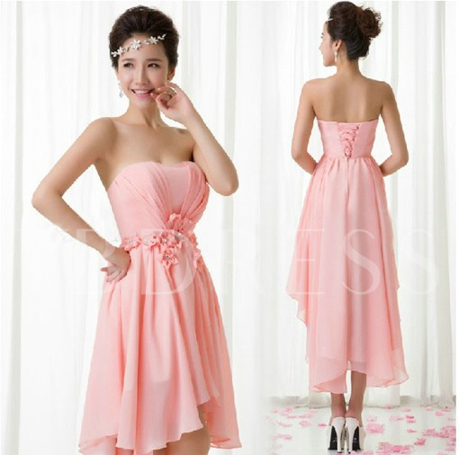 A-Line Asymmetry Pleats Strapless Flowers Bridesmaid Dress