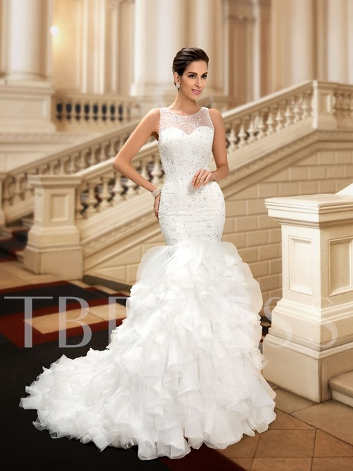 Scoop Neck Beading Trumpet Tiered Court Train Wedding Dress