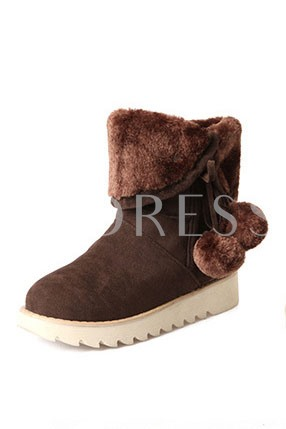 Solid Color Low Shaft Women's Snow Boots